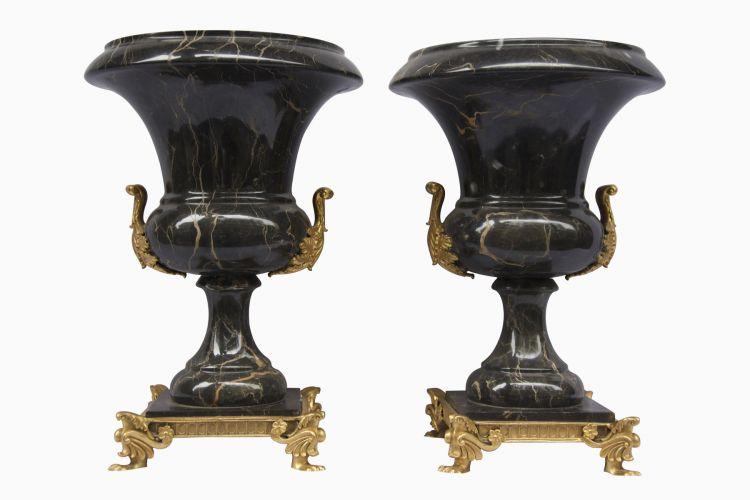 Pair Of Black Marble Vases Essajees The House Of Things