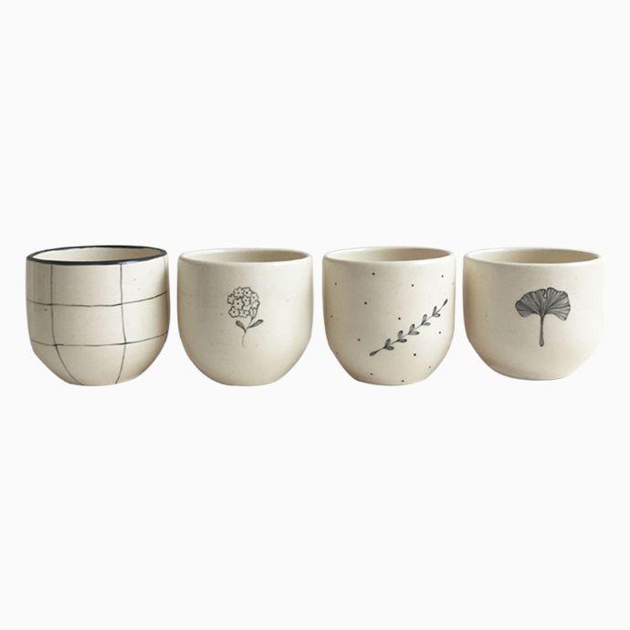 Gingko, Durba Tagar And Chauko Herbal Tea Cup - Set Of 4