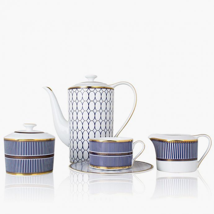 Blue Geo Tea Set