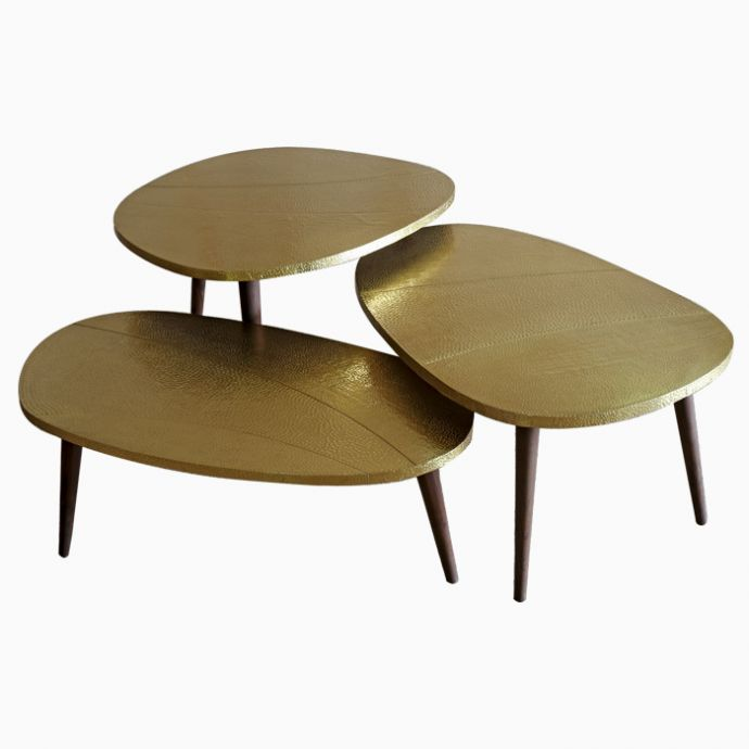 Brass Pebble Table
