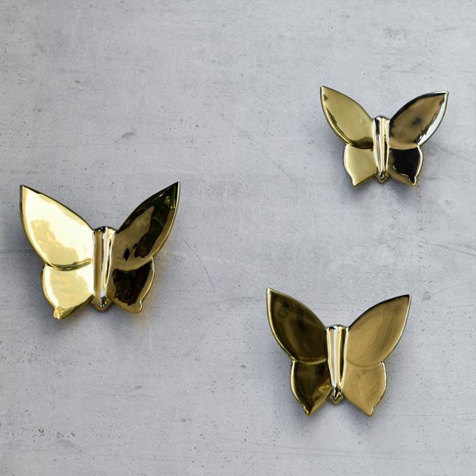 Cassidy Golden Butterfly Ceramic Wall Sculptures - Set of 3