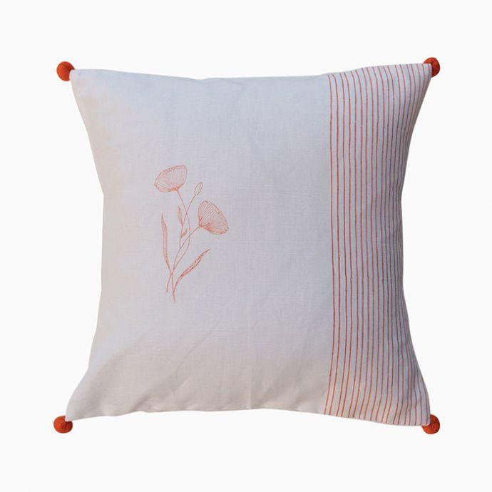 Coral Peony Stripe Cushion