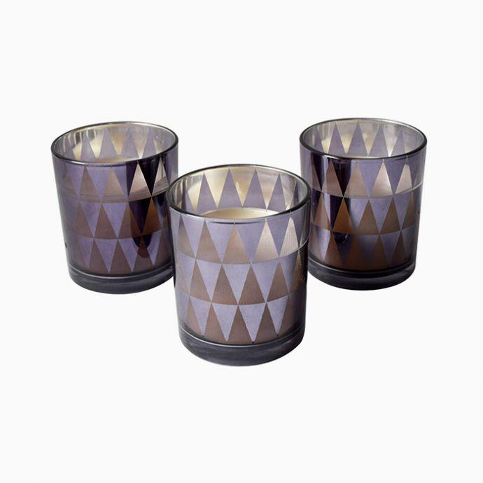 Dark Grey Triangle-Pattern Candles (Set of 3)