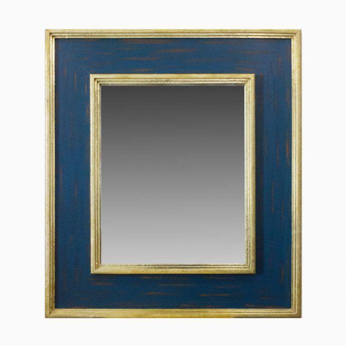 Blue Wooden Mirror With Beaten Metal Edges