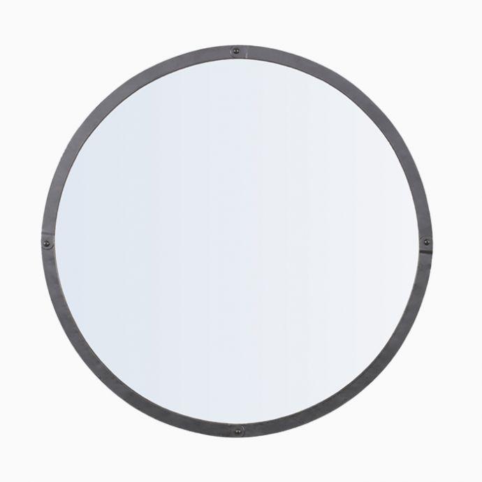 Rivet Round Mirror