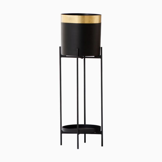 Gold Noir Single Tall Planter