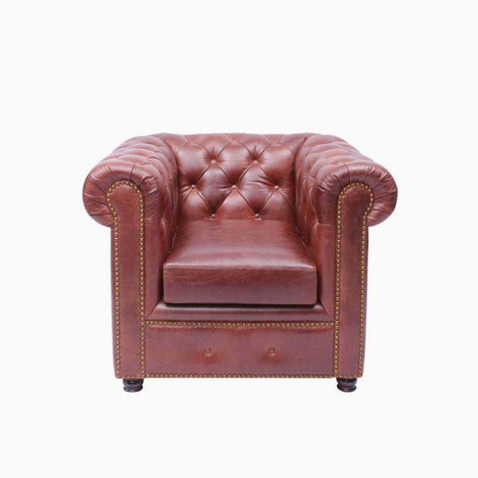Gentleman's Club Single Seater Sofa - Vintage Brown