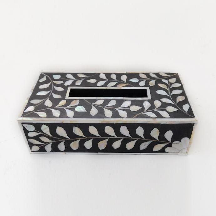 Black and White Inlay Tissue Box