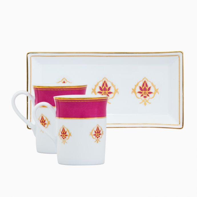 The Lotus At Fatehpur 2 Mugs And Tray Set