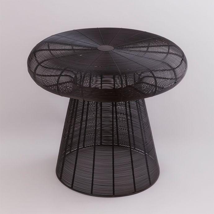 matt black side table
