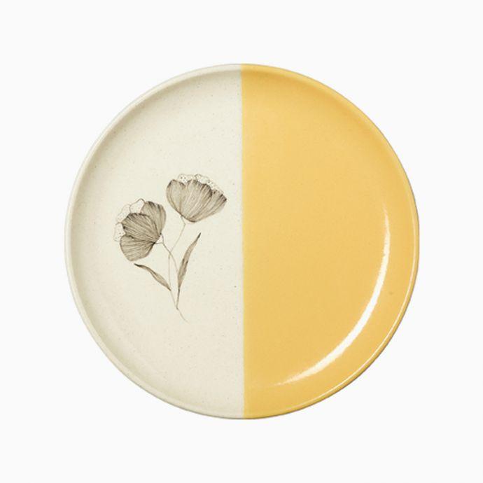 Mustard Peony Dessert Plates (Set of 2)