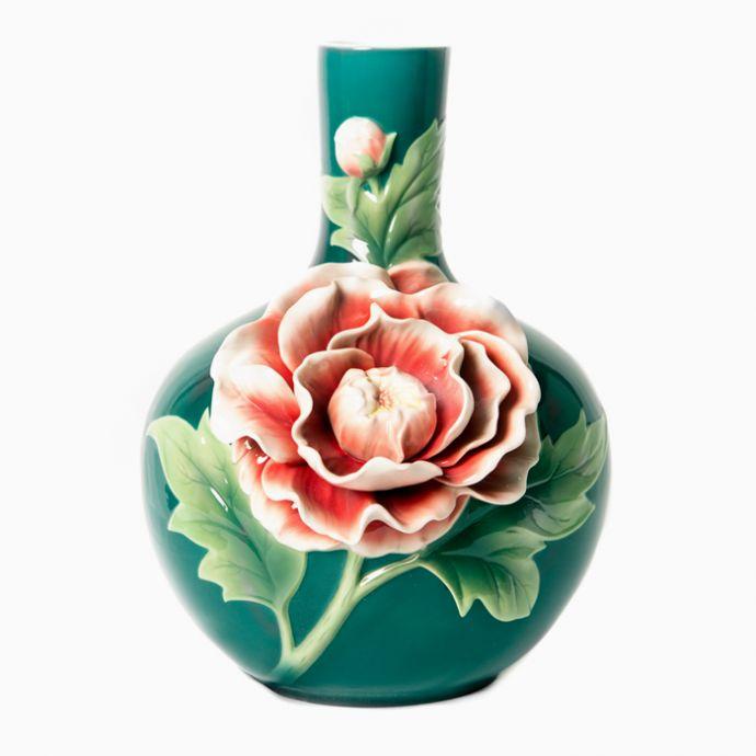 Peony Sculptured Porcelain Vase