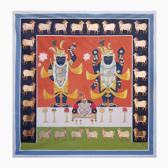Shrinathji And Dwarkadhish Pichwai Painting