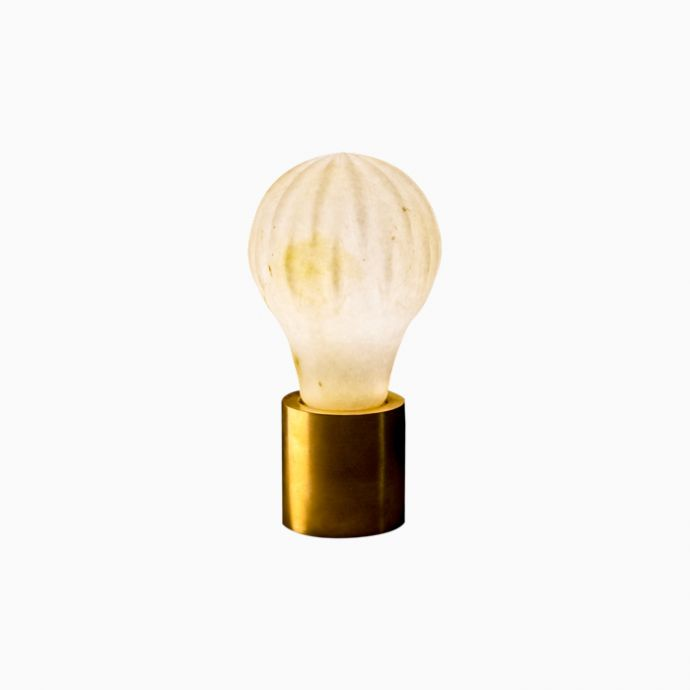 Table Top  Bulb Light - Carved
