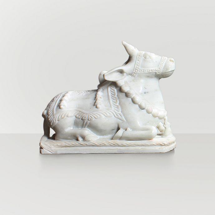 Sitting Nandi Sculpture - White Marble